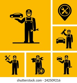Car Mechanic Vector Icon Figure Pictogram