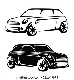 CAR MINI BACK AND WHITE VECTOR