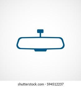 Car Mirror Blue Flat Icon On White Background