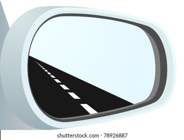 Car mirror and is reflected in it path