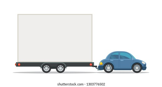 Car with mobile billboard. Out of home, outdoor advertising, banner. Vector illustration, flat cartoon style. Isolated on white background.
