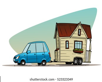 Car With Mobile Trailer House