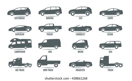 Car Model and Type. Objects icons automobile set. Black vector illustration isolated on white background with shadow. Variants of automobile body, car silhouette for web, template.