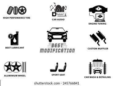 CAR MODIFICATION (high performance tire, audio, engine tuning, lubricant, custom muffler, alumunium wheel, sport seat, car wash detailing) illustration, easy to modify