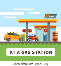 Car and motorcycle at a gas station. Urban landscape. Vector flat illustration