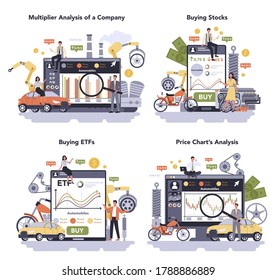 Car and motorcycle production industry online service or platform set. Machine manufacturing. Multiplier analysis of a company, buying stocks and ETFs, price chart analysis. Isolated flat illustration