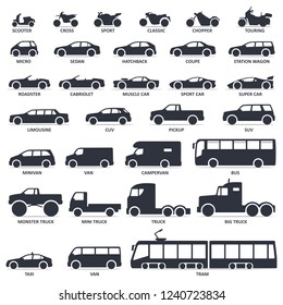 Car, motorcycle and public transport type icons set. Vector black illustration isolated on white background with shadow. Variants of model automobile and moto body silhouette for web with name.