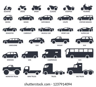 Car and Motorcycle type icons set. Vector black illustration isolated on white background with shadow. Variants of model automobile and moto body silhouette for web with title.