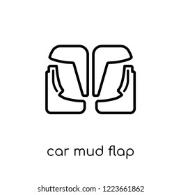 car mud flap icon. Trendy modern flat linear vector car mud flap icon on white background from thin line Car parts collection, outline vector illustration