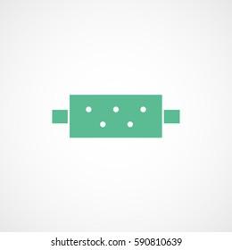 Car Muffler Green Flat Icon On White Background