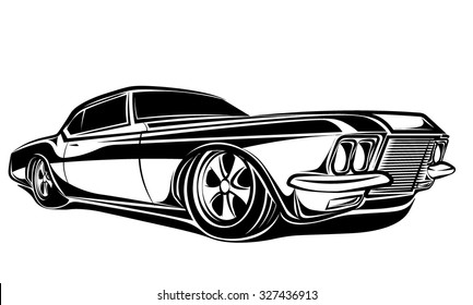 Car muscle 70s vector silhouette