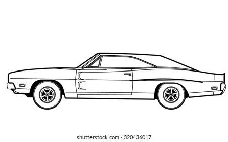 Muscle Car Drawing Stock Vector Royalty Free 312843551 Shutterstock