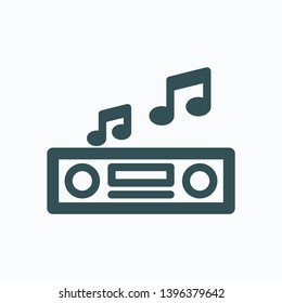 Car music receiver outline icon, car audio system vector icon