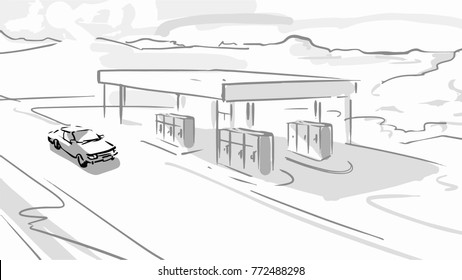 The car is near petrol station in the country road. Black and white vector sketch. Simple drawing.