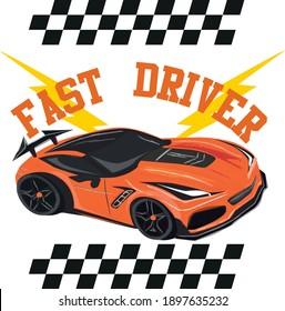 Car New Print. Kids Cars Fast