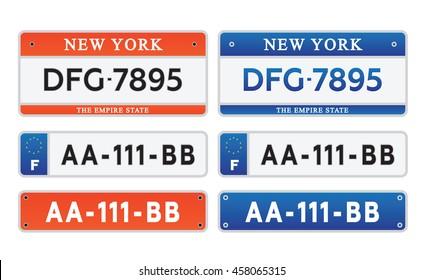 Car number plates license set vector illustration eps 10