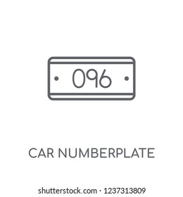 car numberplate linear icon. Modern outline car numberplate logo concept on white background from car parts collection. Suitable for use on web apps, mobile apps and print media.