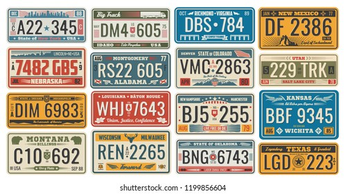 Car numbers of vehicle registration in USA states (abstract numbers). Metal sign boards automobile plates with digits and letters, Nebraska and Alabama, Wichita and Texas, Colorado and Utah