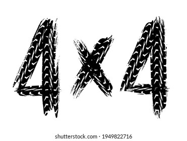 Car off road racing sport grunge print with tires marks. Auto or motorbike wheels traces, dirty or rubber treads vector. Motorsport competition, rally or motocross extreme race typography or sign