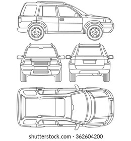 Line drawing car top view images stock photos vectors shutterstock car offroad line draw insurance rent damage condition report form blueprint all view malvernweather Choice Image