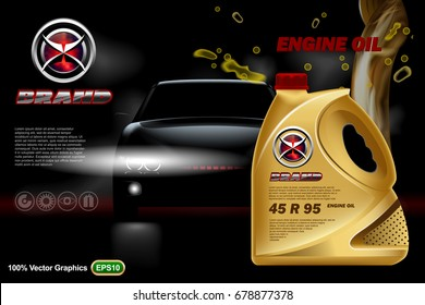 Car oil canister ads template with brand logo on dark background with vehicle. Realistic 3D vector image.
