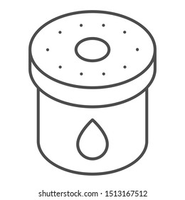 Car oil filter thin line icon. Automobile filter liquid vector illustration isolated on white. Auto engine filter outline style design, designed for web and app. Eps 10