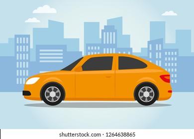 Car on city blue background. Vector illustration