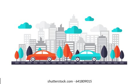 Car on city streets create by vector. Car running on the road through the town.This set includes car, tree, city, cloud, road, building, skyscrapers background. Can be us for business banner, website.