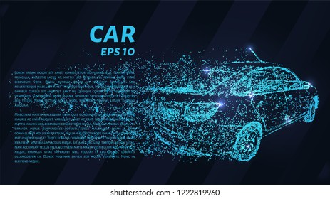 Car on dark background. The car of the blue dots. Vector illustration