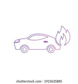 Car on fire icon. auto collision, fire protection car icon.