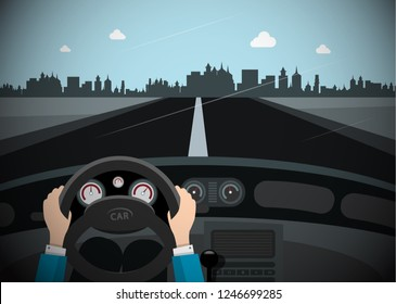 Car on the Road with City Skyline on Background. Vector.