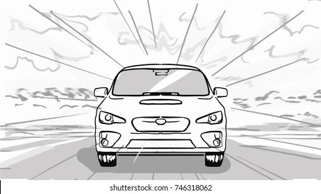 The car is on the road, front view. Black and white vector sketch, simple drawing.