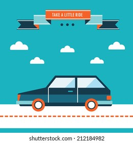 Car on the road. Stylish car, take a little ride. Flat design background template. Vector illustration