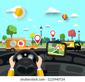 Car on Street with GPS Navigation Pins on City Map. Vector Hands on Steering Wheel  with Town Park on Background.