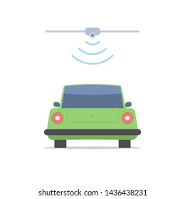 The car on the toll road passes through the toll gate. Wireless automated fare collection system. Communication systems of vehicles. Vector illustration isolated on white background