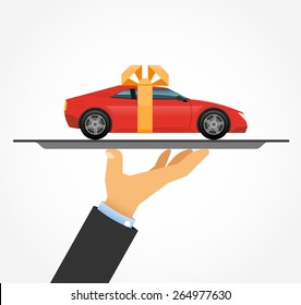 Car on a tray. The concept car sales, car rental, car service
