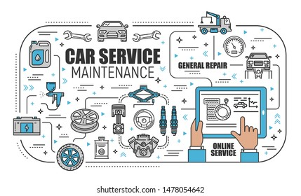 Car online service, mechanic diagnostic and repair remote assistance. Vector thin line vehicle tow, tire wheel and engine restoration, car computer diagnostic service in mobile application technology