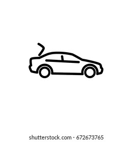 Car with open boot concept, icon, linear sign vector illustration