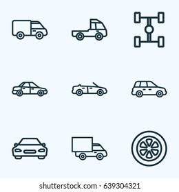 Car Outline Icons Set. Collection Of Truck, Convertible Model, Caravan And Other Elements. Also Includes Symbols Such As Track, Wheel, Van.
