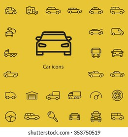 car outline, thin, flat, digital icon set for web and mobile