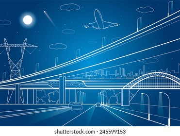 Car overpass, infrastructure, urban plot, the plane takes off