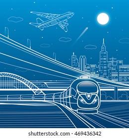 Car overpass, train move, city infrastructure, urban plot, plane takes off, train move, transport illustration, vector design art