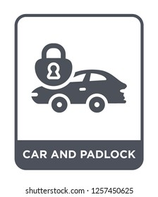 car and padlock icon vector on white background, car and padlock trendy filled icons from Mechanicons collection, car and padlock simple element illustration