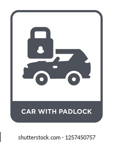 car with padlock icon vector on white background, car with padlock trendy filled icons from Mechanicons collection, car with padlock simple element illustration