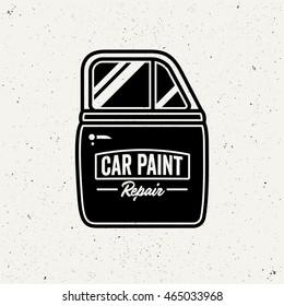 Car paint repair logo. Retro style sign. Car door.