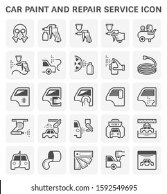 Car paint and repair service vector icon set design, editable stroke and adjustable.