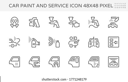 Car paint and repair service vector icon set design, 48X48 pixel perfect and editable stroke.