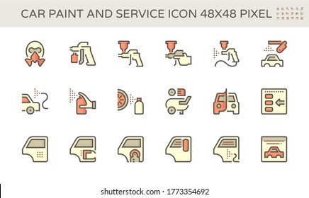 Car paint service icon such as car body paint spray, color repair, car wrapping foil, and paint tool vector icon set design, 48X48 pixel perfect and editable stroke.