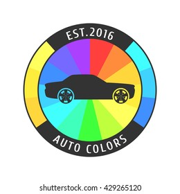 Car paint vector logo, icon, sign, emblem template. Template design element for business related to car painting, decoration, parts, cosmetics