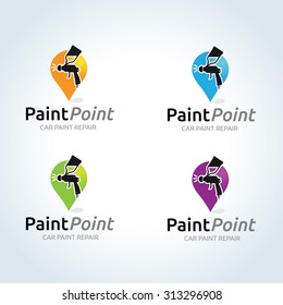 Car painter vector logo template